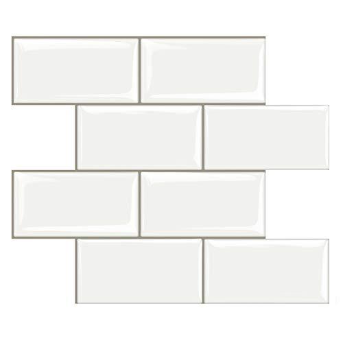 10 Piezas Decorativos Adhesivos para Azulejos Pegatina de Pared Engrosado, Azulejos de Gel, Diseño de Ladrillo Blanco, Efecto 3D, Cenefa Autoadhesivo, para Baño y Cocina