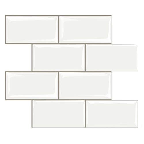STICKGOO 10-Sheet Peel and Stick Subway Tile, Stick on Tiles Backsplash for Kitchen & Bathroom in White (Thicker Design)