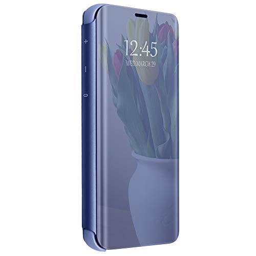 kompatibel Clear View Standing Cover für das Samsung Galaxy S10 Plus,Spiegel Handyhülle Schutzhülle Flip Cover Schutz Tasche mit Standfunktion 360 Grad hülle Schwarz (S10 Plus, Blau)