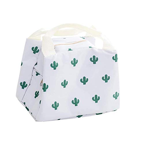 ランチバッグ かわいい 保冷バッグ 小さい お弁当袋 女の子 ファスナ付き アルミシート 軽量 保冷 保温 通勤 通学 ピクニック 6色 (サボテン)