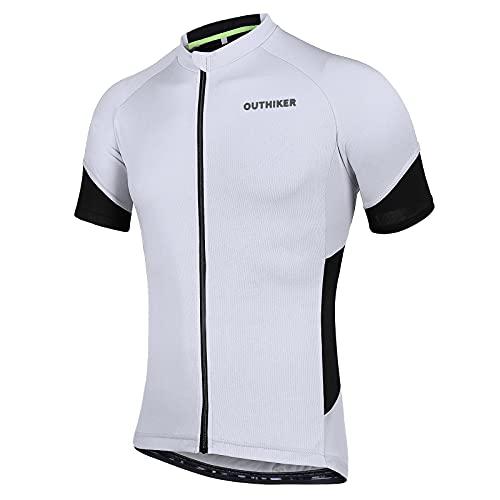 OUTHIKER Maglietta da Bici Uomo Estivo Maglia da Ciclismo a Manica Corta Abbigliamento da Ciclismo Traspirante e Asciugatura Rapida per Bici da Corsa