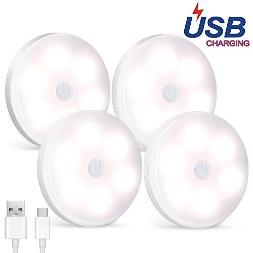 Luces para Gabinetes LED, SALKING 4 Packs Luces Nocturnas LED Inalámbricas, Luz Noche LED con Recargable USB,Lámpara Nocturna para Habitación de Bebé, Dormitorio ,Escalera, Cocina, Gabinete