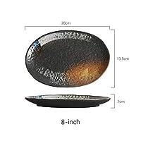 JJKEDW ヴィンテージセラミック7/8/9/10インチプレートオーバルシェイプデザートプレートスナックプレートケーキプレート装飾カトラリーセット (Size : 8 inch)