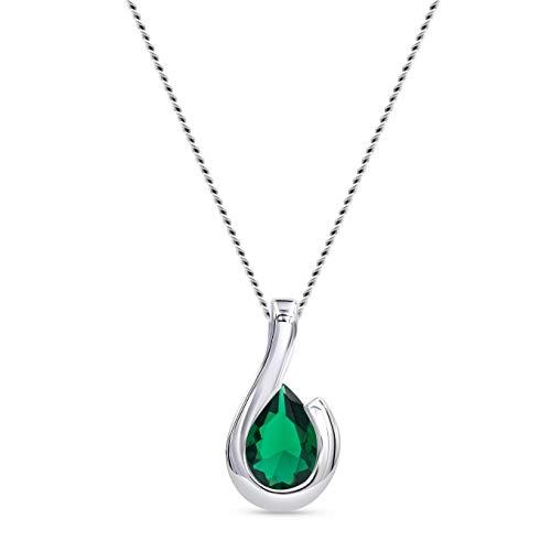 Miore Halskette Damen mit Tropfen Kettenanhänger Edelstein/Geburtsstein grüner Smaragd 0.75 Ct Kette aus Weißgold 9 Karat / 375 Gold, Länge 45 cm Schmuck