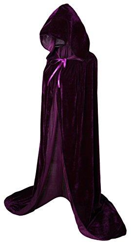 VGLOOK - Mantello lungo da adulto con cappuccio, in velluto, unisex, ideale per cosplay, costumi per Carnevale e Halloween, 150 cm circa