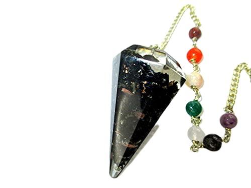 Jet International Péndulo de turmalina negra Órgano de 2 pulgadas Folleto de terapia de cristal Poder curativo Paz Prosperidad Piedra preciosa divi