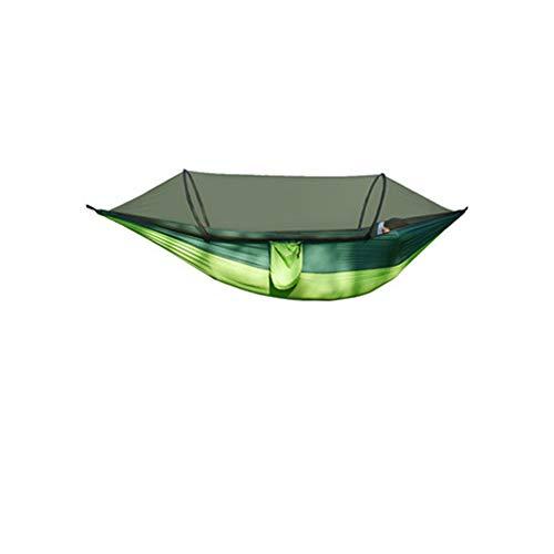FNBA Hamaca de Nailon antivuelco para Acampar al Aire Libre con mosquiteras Hamaca con mosquitera de Polo Abierto de Doble Velocidad automática