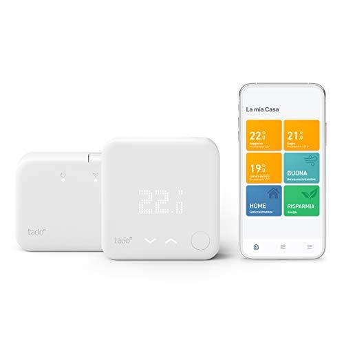 tado° Termostato Intelligente wireless Kit di Base V3+ Gestione Intelligente del Riscaldamento, Progettato in Germania, Compatibile con Alexa, Siri e Assistente Google