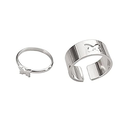 Wenyounge 1 Paar Passende Schmetterlingsliebhaber Paar Ringe Verlobungsversprechen Ringe Für Männer Frauen Hochzeitsfeier Schmuck Jubiläum Geburtstagsgeschenk