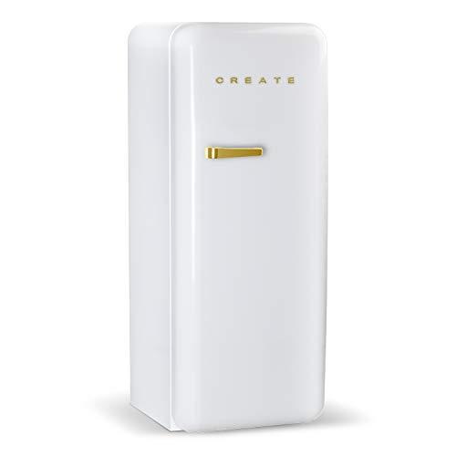 CREATE Retro Fridge GOLD frigorifero con design, controllo della temperatura regolabile, stile vintage, classe energetica A+ (bianco, 150 cm)