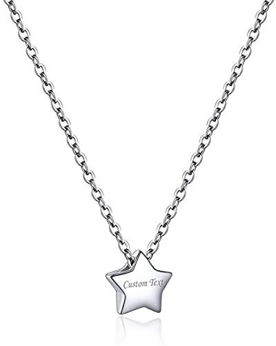 HUIQ Nombre Personalizado Plateado Estrella Collares para Mujeres Día San Valentín Regalo Collar de Oro Blanco Pequeñas Joyas de Plata esterlina