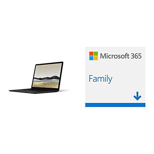 Microsoft Surface Laptop 3, 13,5 Zoll Laptop (Intel Core i5, 8GB RAM, 256GB SSD, Win 10 Home) Matt Schwarz + Microsoft 365 Home multilingual | 6 Nutzer | 1 Jahresabonnement | Download