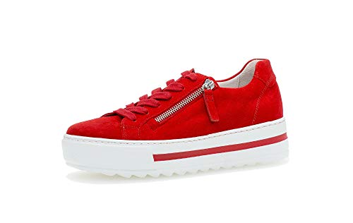 Gabor Damen Sneaker, Frauen Low-Top Sneaker,Comfort-Mehrweite,Reißverschluss,Optifit- Wechselfußbett, feminin elegant Women's,Flame,40.5 EU / 7 UK