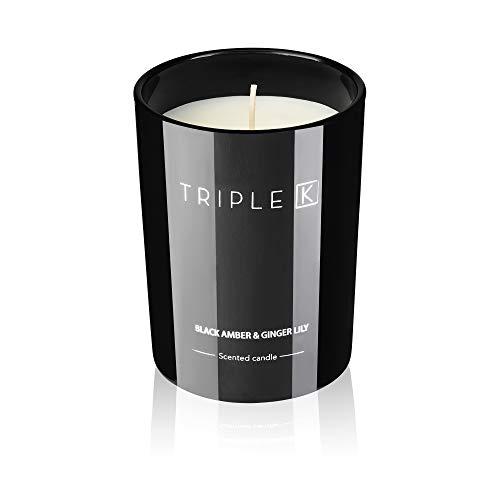 TRIPLE K Duftkerze 100% Sojawachs - mit 40 Std Langer Brenndauer - 250g - Black Amber & Ginger Lily-Duft - Perfekt für Zuhause & als Geschenk