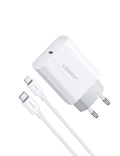 UGREEN 18W Cargador USB C Power Delivery 3.0, Tipo C Cargador de Carga Rapida QC4.0/ QC 3.0 Compatible para iPhone 11, 11 Pro, 11 Pro MAX, iPhone X, iPhone XR, iPhone 8, 8 Plus y Xiaomi Redmi Note 8