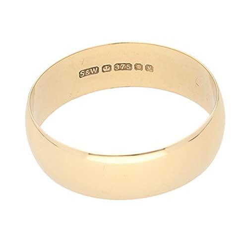 Jollys Jewellers Alianza de boda de oro amarillo de 9 quilates (talla...