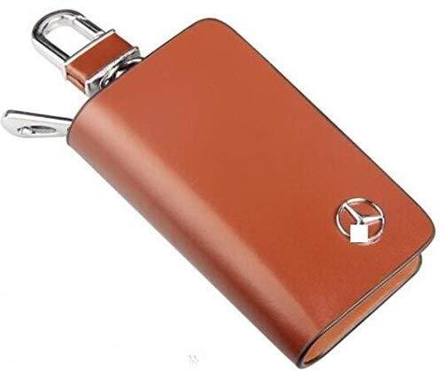 IMBM Premium Leder Autoschlüssel Kette Münzhalter Zipper Case Remote Wallet Bag for Alle Mercedes-Benz Autoschlüssel (Color : Brown)