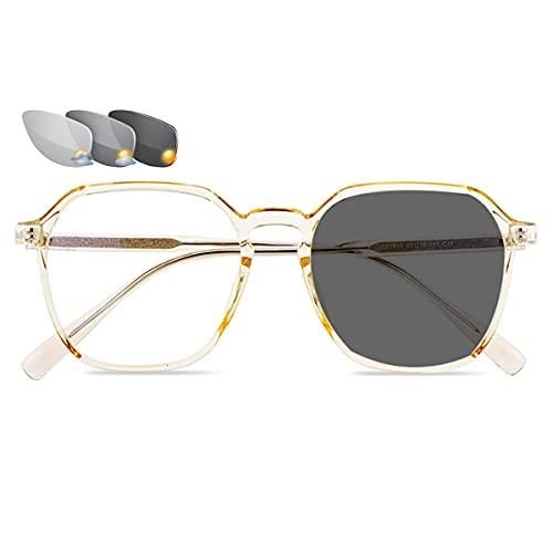 LGQ Gafas de Lectura Unisex con Montura de Moda, Gafas de Sol fotocromáticas para Exteriores, Gafas de presbicia ópticas multifocales progresivas,Amarillo,+2.25