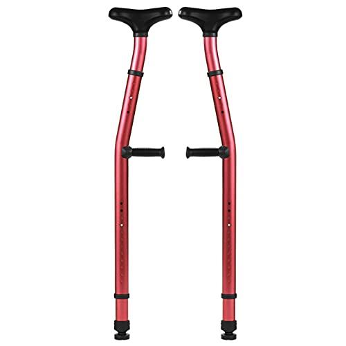 2 Muletas MéDicas Para Las Axilas,BastóN Para Caminar Escalable Ajustable En Altura,Muletas AleacióN Aluminio Antideslizantes Con Agarre ErgonóMico Para Personas Discapacitadas Edad Avanzada(rojo)