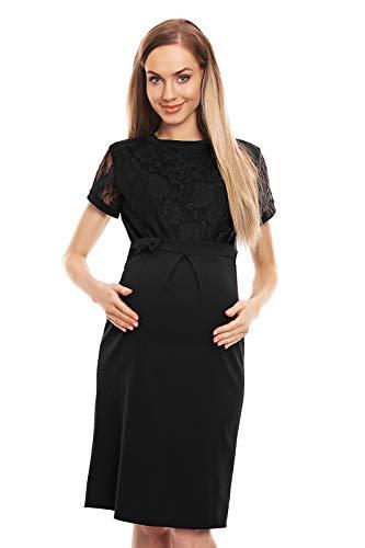 Selente Mummy Love 0127 festliches Umstandskleid (Made in EU) Schwangerschaftskleid, mit Spitze Schwarz, Gr. L/XL