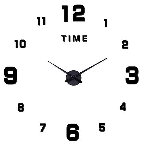 Orologio da Parete Silenzioso Preciso Fai da Te, Orologio Parete Moderno Decorazione, Grande Orologio da Parete 3D Adesivo Home Office Decor Regalo (Dimensioni 90 cm – 120 cm autoadattamento) Nero