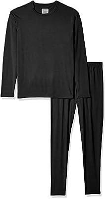 9M Men's Ultra Soft Thermal Underwear Base Layer Long Johns Set with Fleece Lined, Black, Medium