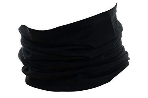 Halstuch aus Baumwolle, Multifunktionstuch, Schlauchtuch, Bandana, Geschenk für Frauen und Männer, Farbe/Design:Schwarz uni
