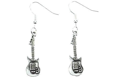 Royal Swan Pendientes de plata tibetana para guitarra eléctrica con ganchos de...