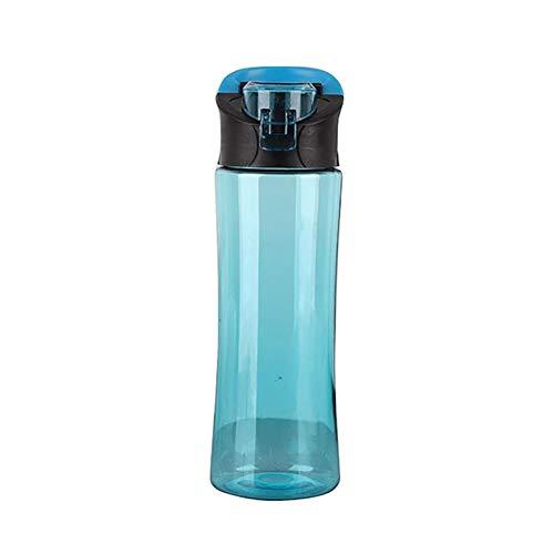 DDDCM Botella de Agua plástica portátil al Aire Libre Fugas a Prueba de Agua Botellas de Agua Transparentes Botellas Botellas Deportes Viajes Taza de Bebida (Color : Azul)