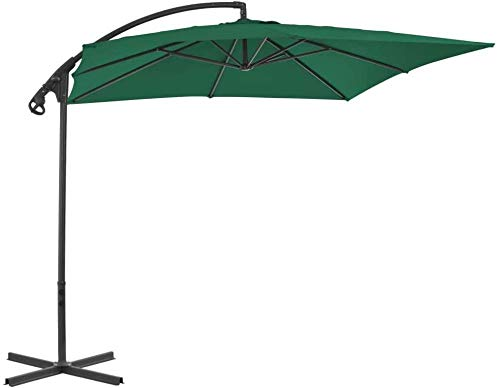 Cantilever Umbrella with Steel Pole Garden Outdoor Umbrella 250 x 250 x 260 cm (L x W x H)-Green_250x250 cm iteration