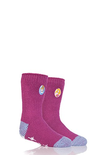 HEAT HOLDERS Mädchen 1 Paar Wärme Halter Disney Princess Slipper Socken mit Grip Rosa 9-12 Mädchen