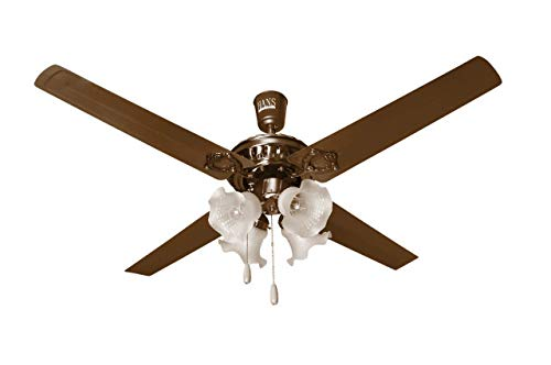 Hans Lighting 4 Blade Ceiling Fan with Light 48-inches (WhiteLamp)
