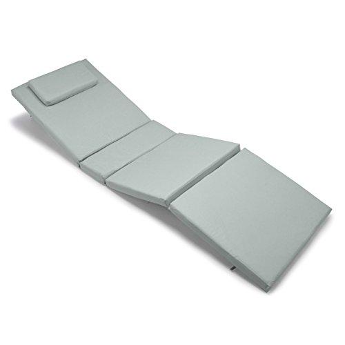 Nexos GL06027 Divero Liegen-Auflage Polster Kopfkissen für Sauna Garten Terrasse hochwertig hellgrau, grau
