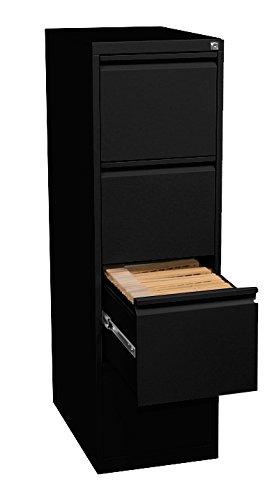 Profi Stahl Büro Hängeregistratur Schrank Bürocontainer 1320 x 400 x 620mm (HxBxT) schwarz mit 4 Schüben, einbahnig 560419 kompl. montiert und verschweißt
