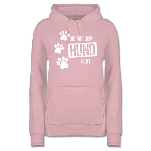 Hunde - Die mit dem Hund geht - XL - Hellrosa - Hunde sprüche Jacke - JH001F - Damen Hoodie und Kapuzenpullover für Frauen