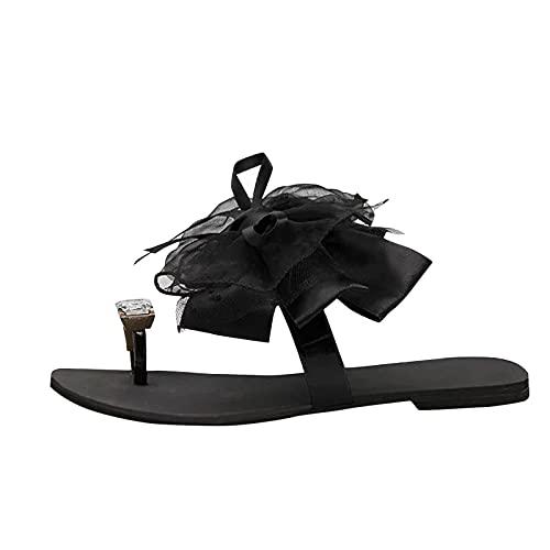 Luckycat Sandalias Mujer Planas Verano 2021 Moda Encaje Bowknot Set Toe Rhinestone Sandalias de Gran TamañO Use Pantuflas Afuera