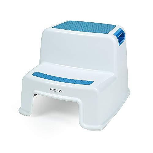 PEECIOO Premium Tritthocker für Kinder, anti-rutsch Trittschemel, Zweistufig, Hocker, Duschhocker, Trittleiter, Badhocker aus Kunststoff - blau (Einfach)