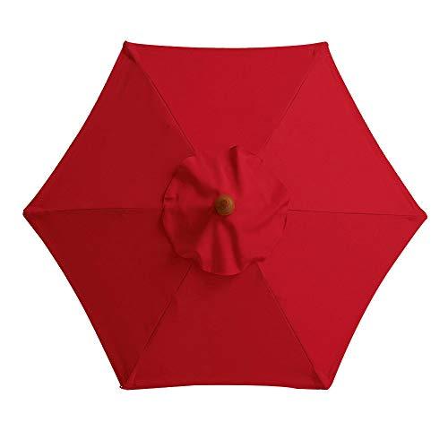 LYXMY Cubierta de tela para sombrilla de repuesto, 2 m/6 brazos, cubierta de tela para sombrilla de jardín, antiultravioleta, resistente al agua, No nulo, Rojo, Tamaño libre