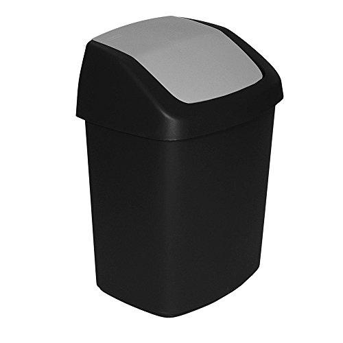 CURVER Abfalleimer mit Schwingdeckel 10 L in schwarz/grau, Plastik, 24.6 x 19.8 x 37.3 cm
