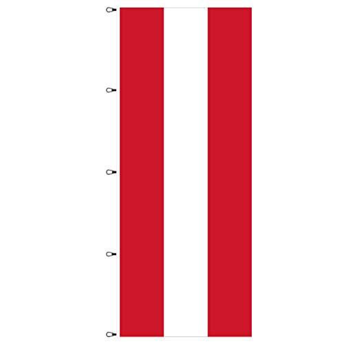 BGFint Österreich Flagge 120x300 cm Fahne Austria Nationalflagge Nationalfahne Stoff 110g / qm für Fahnenmasten mit Ausleger