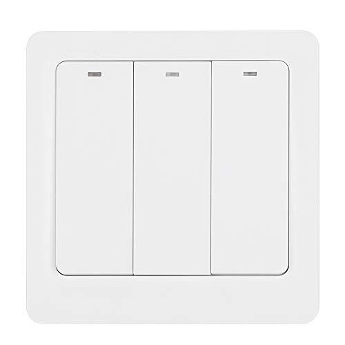 Panel de interruptor de pared de 3 vías, interruptor de pared remoto con retroiluminación LED con funciones de temporización y cuenta regresiva compatible con control remoto de aplicaciones