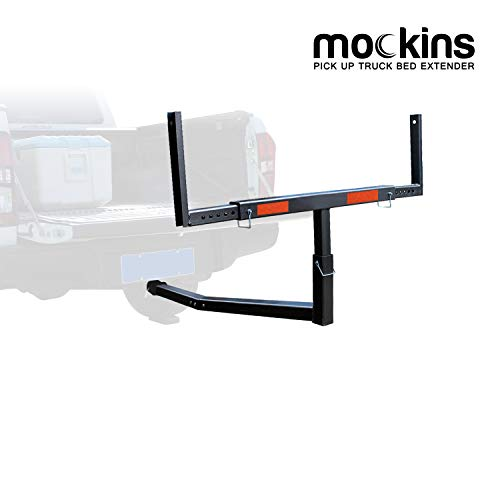 Mockins Heavy Duty Steel Pick Up Truck Bed Extender with Ratchet Straps   The Hitch Mount Truck Bed Extension can be Used for Lumber or a Ladder or a Canoe & Kayak - Black
