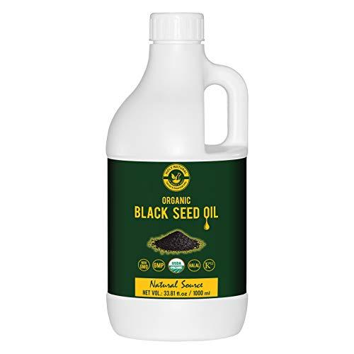 Organic Black Seed/Nigella Sativa/Kalonji Seeds Oil (33.81 fl oz) USDA Certified, Virgin Cold-Pressed, 100% Pure & Natural, No GMO, Untreated Black Seed Oil - Source of Thymoquinone & Omega 3,6 & 9