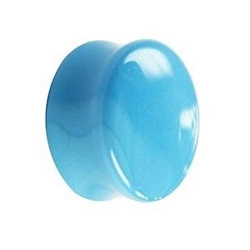 Treuheld® | 10mm Glas Ohr Plug/Flesh Tunnel | Hell-Blau/Baby-Blau | Double Flared | Ohne Gewinde | Damen und Herren | Hautfreundlich