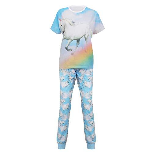 Christmas Shop - Pijama de manga corta con diseño de Unicornio para mujer
