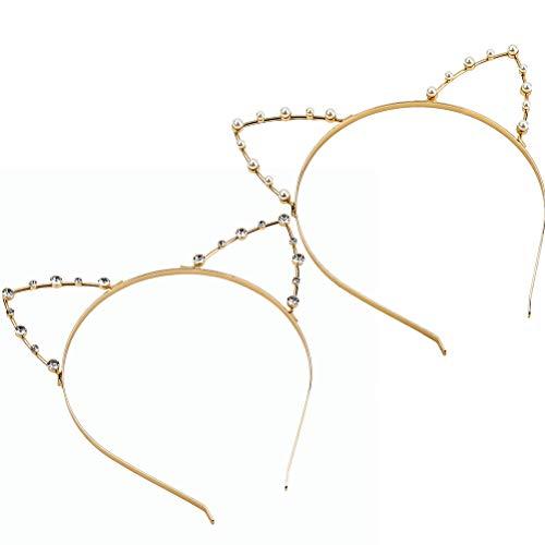 Lurrose 2pcs Katze Ohren Haarreif Braut Perle Stirnband Mädchen Damen Kristall und Perle Haarreif