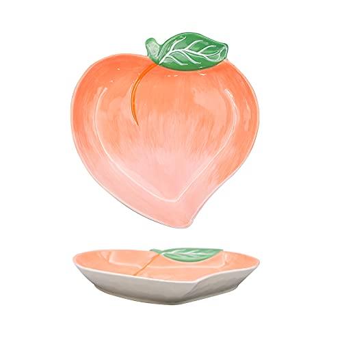 Plato de cena de cerámica Plato de cena de dibujos animados para niños Juego de postre de bocadillo para el hogar Plato Vajilla Plato en forma de fruta Melocotón