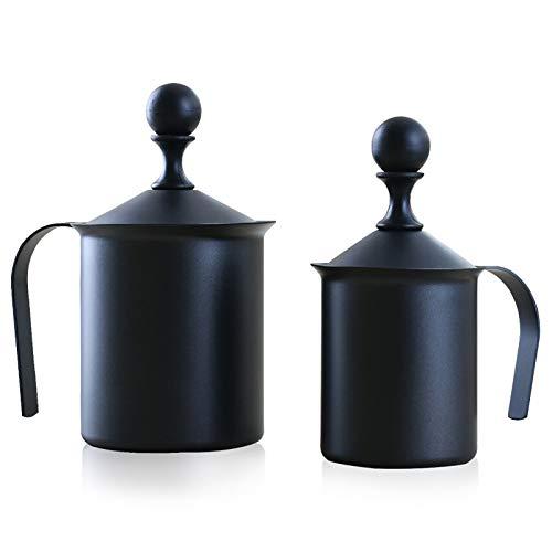 PGODYQ Burbuja espumadora de leche, acero inoxidable, con mango y tapa para herramienta de decoración de café y café con leche (400 ml)-800 cc