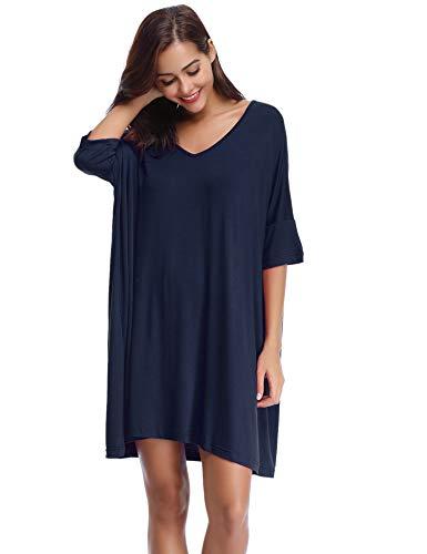 Aibrou Damen Nachthemd Nachtkleid Kurz Sommer Nachtwäsche Negligee Umstandskleid Stillnachthemd Sleepshirt aus Modal Dunkelblau M