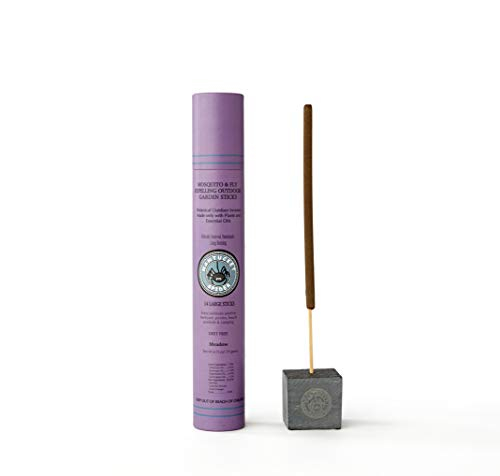Nantucket Spider Bundle | Garden Repellent Sticks 14 Pack and Incense Stick Holder | Repels Mosquitoes, Wasps & Flies | Long Lasting | Soapstone Block, Handmade Bamboo Based Sticks | Meadow